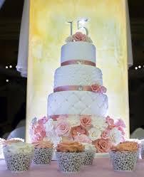 Elegant 4 Tier 15th Birthday Cake with Matching Cupcakes JPG Hi