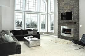 Modern Gas Fireplace With Stacked Stone Living Room