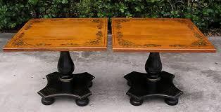 Ethan Allen Liliana Secretary Desk by Pair 2 Vintage Black Painted Ethan Allen Stenciled Hitchcock