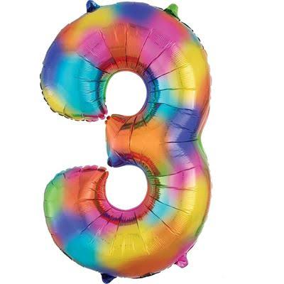 3 Rainbow Number Foil Balloon