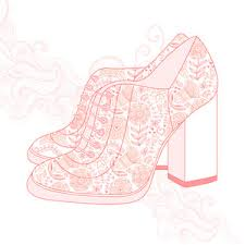 A High Heeled Vintage Shoes With Flowers Fabric Heels Background Place For