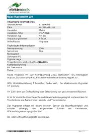 datenblatt maico hygrostat hy 230