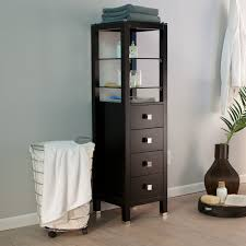 Narrow Bathroom Floor Cabinet by Tall Black Wooden Storage Cabinet With Glass Racks And Four Doors