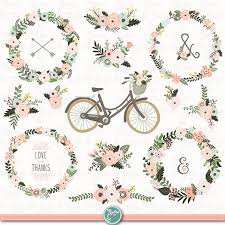 Vintage Floral Wedding WEDDING WREATH Clip Art Rustic Wreath Bicycle Flower 21 Png Files 300 Dpi Wd135