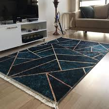 waschbarer teppich in gold geometrisch my5800 120x170 cm