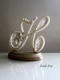 Wedding Cake Topper Display Monogram Letter H In Ivory Lace And Pearls With Rose Brooch For Shabby Chic Vintage Or Rustic