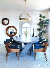 A Modern Dining Room Designed In Blue Color Palette With Custom Company Table And Stunning John Halo Pendant Via Chairs Mid Century