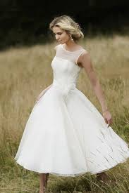 Beautiful Rustic Tea Length Casual Wedding Dress Sleeveless Illusion Neckline