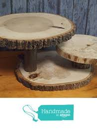 Rustic Tree Slice Display Stand 3 Slices Centerpiece Wedding Cupcake Cake