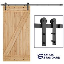 SMARTSTANDARD 8ft Heavy Duty Sturdy Sliding Barn Door Hardware Kit Smoothly And QuietlySimple And Easy To InstallIncludes Step By Step