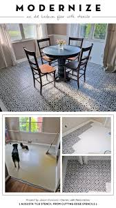 Cutting Edge Stencils Shares A DIY Stenciled Dining Room Linoleum Floor Makeover Using The Augusta Tile