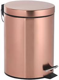 axentia kosmetikeimer riga in kupfer tretmülleimer 3l kosmetik mülleimer deckel abfalleimer mit tritt treteimer für bad wc metall