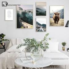 kunst mountains forest nature poster scenery canvas print