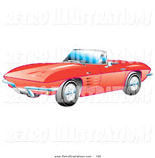 100 Convertible Chevy Truck Retro Illustration Of A New Red 1963 Chevrolet Corvette