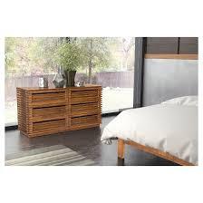 mid century modern 6 drawer 59 double dresser walnut zm home