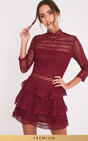 prettylittlething womens ladies caya berry lace panel tiered mini