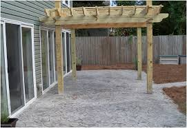 Backyards: Outstanding Concrete Backyard Cost. Polished Concrete ... Stone Texture Stamped Concrete Patio Poured Stamped Concrete Patio Coming Off Of A Simple Deck Just Needs Fresh Finest Cost Of A Stained 4952 Best In Style Driveway Driveways And Patios Amazing Walmart Fniture With To Pour Backyards Cement Backyard Ideas Pictures Pergola Awesome Old Home Design And Beauteous Dawndalto Decor Different Outstanding Polished Designs For Wm Pics On Mesmerizing