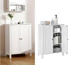 vasagle badschrank weiß doppeltürig 80 x 60 x 30 cm aus mdf mit 2 verstellbare einlegeböden schuhschrank badezimmerschrank bcb60w