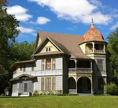 beautiful victorian house in Waxahachie Texas The blue is much more vivid in person