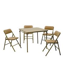 cosco 5 piece folding table and chair set in beige mist 14551whd