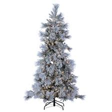 7 Ft White Pre Lit Christmas Tree by Sterling 7 Ft Indoor Pre Lit Led Lightly Flocked Snowbell Pine