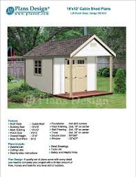 16 x 12 cabin guest house building covered porch shed plans