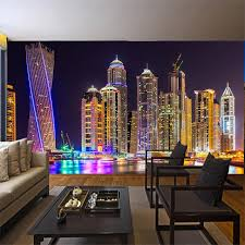 schöne dubai nacht city tapete großes wandbild wohnzimmer tv restaurant nacht hintergrund wand persönlichkeit 3d wand papier