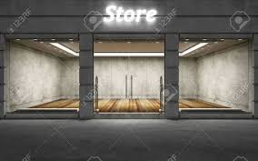 Modern Empty Elite Store Front With Big Windows At Night 3D Rendering Stock Photo