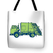 100 Loader Truck Garbage Rear End Side Woodcut Tote Bag For Sale By