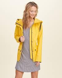 hollister nylon rain jacket in yellow lyst