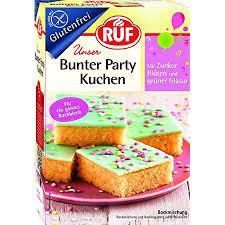 ruf bunter kuchen glutenfrei blech kuchen zum kinderleichten backen ohne gluten back mischung mit glasur und streuseln fertig mischung 815g