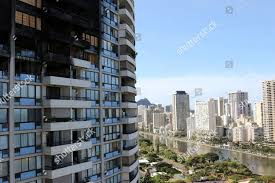 100 Marco Polo Apartments Fire Damage Shown Residential Highrise Editorial