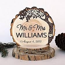 Rustic Wedding Cake Topper Engagement Love Tree Wood Keepsake