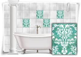 fliesen aufkleber fliesen bilder damast barock nostalgie retro floral türkis bad wc deko