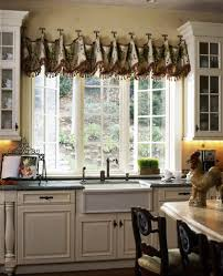 Kitchen Valance Curtains Awesome Valances Swags Black White Striped Fabric And Tier Set Brown Varnished Canada Image Of Modern