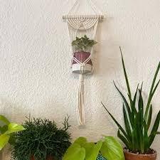 mini macrame pflanze topf aufhänger mit holz dübel decke