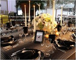 Floral Centerpiece Black And Gold Wedding Table Setting