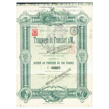 Tramways De Francfort SM Brüssel 1880 Gründeraktie 100 Frcs