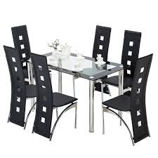 Amazon.com - Mecor 7 Piece Kitchen Dining Set, Glass Top Table With ... Amazoncom Ashley Fniture Signature Design Mallenton East West Avat7blkw 7piece Ding Table Set Hanover Monaco 7 Pc Two Swivel Chairs Four Garden Oasis Harrison Pc Textured Glasstop Small Kitchen And Strikingly Ideas Costway Patio Piece Steel Belham Living Bella All Weather Wicker Athens Reviews Joss Main 7pc Outdoor I Buy Now Free Shipping Winchester And Slatback Ruby Kidkraft Heart Kids Chair Wayfair