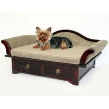 Upholstered Wood Dog Sofa Bed with Drawers
