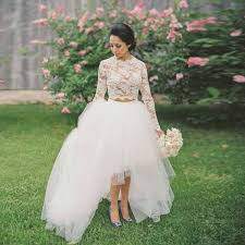 Rustic 2 Pieces High Low Bridal Dress Long Sleeves Lace Wedding Tulle Modest Gowns Vestido De Noiva Romantico 2016 In Dresses From