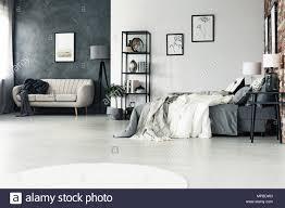 geräumige multifunktionale grau schlafzimmer mit beige sofa