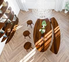 vintage esstisch oval mit sitzgruppe aus massivholz nussbaum