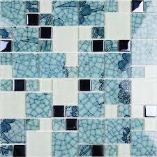 Blue Mosaic Bathroom Mirror by Crystal Glass Tile Backsplash Blue And White Mosaic Tiles Crackle