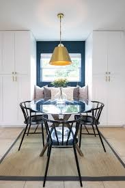 The Deep Blue Color Is Extended Into Dining Space And Provides A Colorful Accent