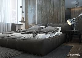 BedroomDashing Masculine Bedroom Design With Wooden Low Bed And White Grey Bedsheet Also