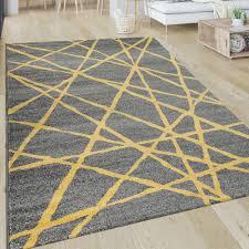 kurzflor teppich linien gelb grau