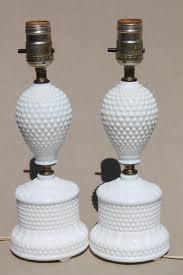 hobnail milk glass lamps 1950s dresser lamp pair boudoir lamps