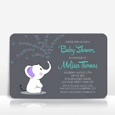Baby Shower Invitation Turquoise And Purple With Elephant