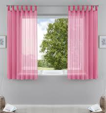 2er pack gardinen transparent vorhang set wohnzimmer voile schlaufenschal mit bleibandabschluß hxb 175x140 cm rosa 61000cn